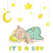 Baby Shower or Baby Arrival Cards - Sleeping Baby Bear and Stars- in vector