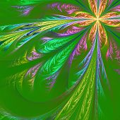 Diagonal Symmetric Multicolor Fractal Tracery. Collection - Frosty Pattern. On Green.