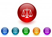 justice internet icons colorful set