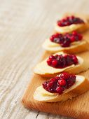 Sandwiches Of Baguette, Butter And Lingonberry Jam