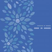 Blue textile peony flowers vertical frame seamless pattern background