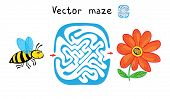 Vector Maze, Labyrinth education Game for Children with Bee and Flower.