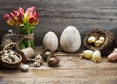 Vintage Easter Decoration With Eggs And Red Tulip Flowers