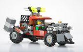 Ankara, Turkey - February 03, 2013: LEGO Zombie Smashing Car isolated on white background.
