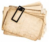 Pile Of Old Postcards Isolated On White
