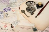Antique Ink Pen, Key, Clock, Old Postcards And Letters