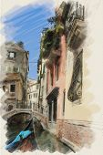art watercolor background on paper textured with street,  channel, bridge and gondola in Venice, Ita