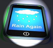 Rain Again On Phone Displays Wet  Miserable Weather