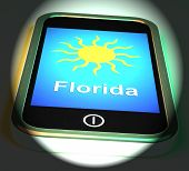 Florida And Sun On Phone Displays Great Weather In Sunshine State