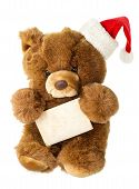 Cute Vintage Teddy Bear With Santa Hat And Greetings Card
