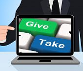 stock photo of generous  - Give Take Computer Showing Generous And Selfish - JPG