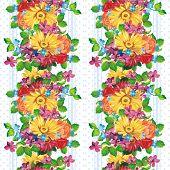Vertical seamless pattern with gerberas