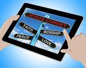 Jesus Christ Tablet Means Faith Worship Peace And Love