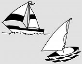 Illustration art of a sailing boat logo with isolated background.