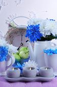 stock photo of chrysanthemum  - Composition of white and blue chrysanthemum and utensil close - JPG