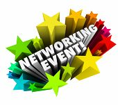 Networking Event in 3d words and colorful stars as invitation for you to attend a conference, mixer,