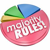 Majority Rules words in 3d letters on a pie chart with the largest share of the vote in an election winning and taking power over the rest