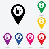 foto of gasoline station  - Map Pointer Icon With Petrol Station Petroleum Station Filling Station or Gas Station - JPG