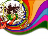 image of durga  - vector illustration of goddess Durga for Happy Dussehra - JPG