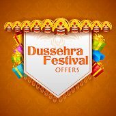 stock photo of navratri  - vector illustration of head of Ravana for Dussehra Festival Offer - JPG