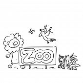 Cute Zoo animals vector illustration, line art hand drawing