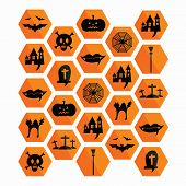 Collection Of Halloween Icons. Vector Illustration.