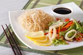Asian Vegetable Salad With Squid And Rice Noodles Horizontal