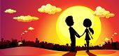 Lovers Silhouette In Sunset - Vector Illustration