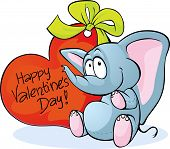 Funny Elephant With Red Heart - Happy Valentines Day