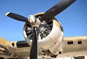 image of propeller plane  - World War 2 era bomber closeup view of propeller - JPG