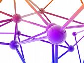 pic of plexus  - pink metallic nerve plexus model on white background - JPG
