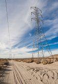 power transmission tower through desert