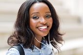 close up portrait of afro american female university student on campus