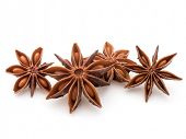 Star anise spice fruits and seeds isolated on white background closeup
