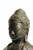 close-up on a bronze statue of Lord Buddha