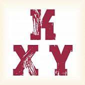 Grunge vector K, X & Y letters