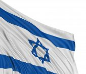 stock photo of israeli flag  - 3D Israeli flag with fabric surface texture - JPG