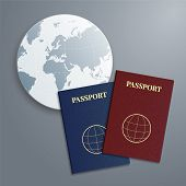 Vector International Passports With Globe.