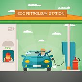 Eco Fuel Petrol Station Vector Concept