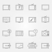 Set of TV repair service vector icons