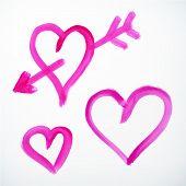 Vector Brush Stroke Hearts With Arrow