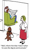 image of wifes  - Cartoon of husband and wife having an argument and using the dog as mediator - JPG