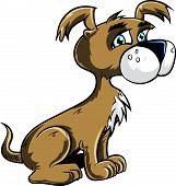 Cartoon cute puppy looking happy