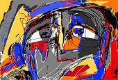 stock photo of expressionism  - original abstract digital painting of human face - JPG