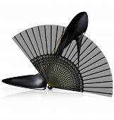 black shoe and fan
