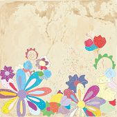 Abstract floral background on paper texture