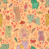 Childish Seamless Pattern With Cats And Fish In Vector. Seamless Pattern Can Be Used For Wallpapers,