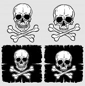 picture of freehand drawing  - Set of Skull and Crossbones isolated over grey background - JPG