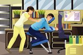 picture of therapist massage  - A vector illustration of massage therapist working on a client using a massage chair in an office - JPG