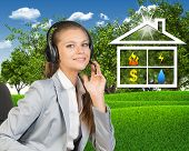 picture of public housing  - Businesswoman in headset - JPG